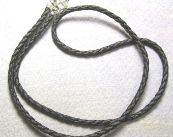 Black braided leather necklace, plain and simple with lobster claw clasp...NEW SHOP special........(B)