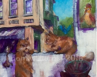 Original Acrylic Painting On Canvas - Cats - Don't Move
