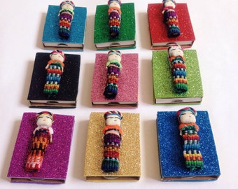 Mexican party favors, Fiesta favors, Worry dolls, Mexican favors, Match box, Cinco de mayo party, SET OF 10