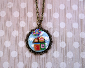 Handcrafted Artisan Polymer Clay Disney Up House Pendant Necklace / Balloon Up House Necklace Pendant