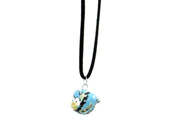 Handcrafted Artisan Polymer Clay Bird Necklace, Boho Bird Necklace, Handmade Bird Bead