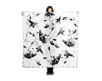 Black and white Shawl wrap with Medieval Knights Superheroes, Underwater Atlantis & Soldiers Warriors Blanket Scarf, Deep Sea Fish Scarves