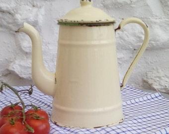 Vintage French enamel coffee pot or jug.