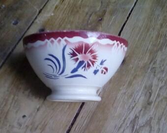 French bowl for café au lait. Pretty stencilled 1930s design