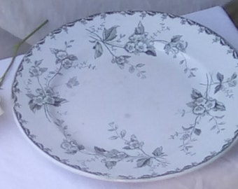 French plate, green and white, Saint-Amand & Hamage Rosette design.