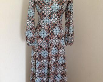 Vintage Boho Stunning floor length 1970,s Jane Elizabeth dress. Festival must have. UK10