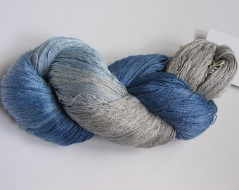 silk lace weight yarn - blue and grey - hand dyed by Rouge Bobine