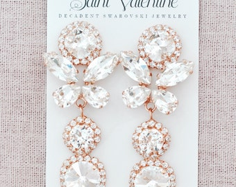 Rose Gold Bridal Earrings Wedding Jewelry Swarovski Crystal Bridal Earrings Drop Earrings Bridesmaid Gift Bridal Jewelry Rose Gold Earrings