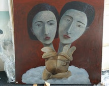 heads portrait women woman twins oil painting hand-made decoration