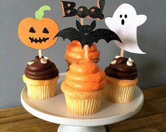 12 Halloween Cupcake Toppers, Halloween Food Picks, Halloween Cake Topper, Bat Cupcake Topper, Halloween decoration, Ghost decoration