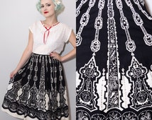 1950's Style Black & White Sequined Mexican Circle Skirt | Souvenir Skirt | Medium