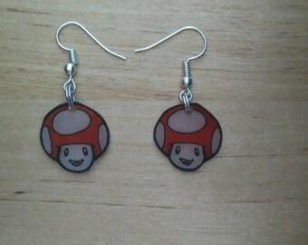 Earrings kawaii red Toad