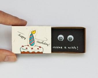 "Funny Birthday Card Matchbox/ Gift box/ ""Make a wish"" Birthday Cake Candle/ BD009"