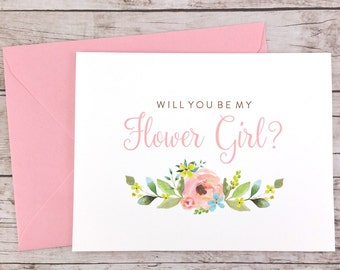 Will You Be My Flower Girl Card, Flower Girl Proposal Card, Floral Wedding Card, Flower Girl Gift, Bridal Party Card - (FPS0013)