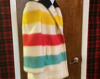 Hudson Bay Striped Button Up Coat