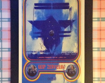 Led Zeppelin Vintage Tour Poster 12'x18' Reproduction // Jimmy Page // Robert Plan // Rock Music // Concert Poster