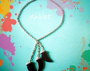 Silver chain Anklet with black tooth charm, Tassel anklet,Boho Beach anklet, Valentine gift for her