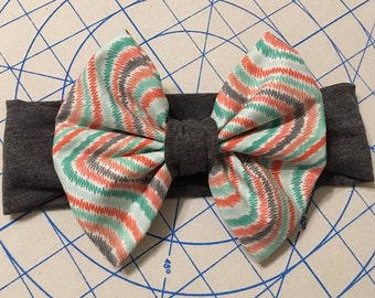 Grey Green and Coral Big Bow Headband, Grey Headband, Big Bow Headband, Newborn Headband, Baby Headband, Child Headband, Adult Headband