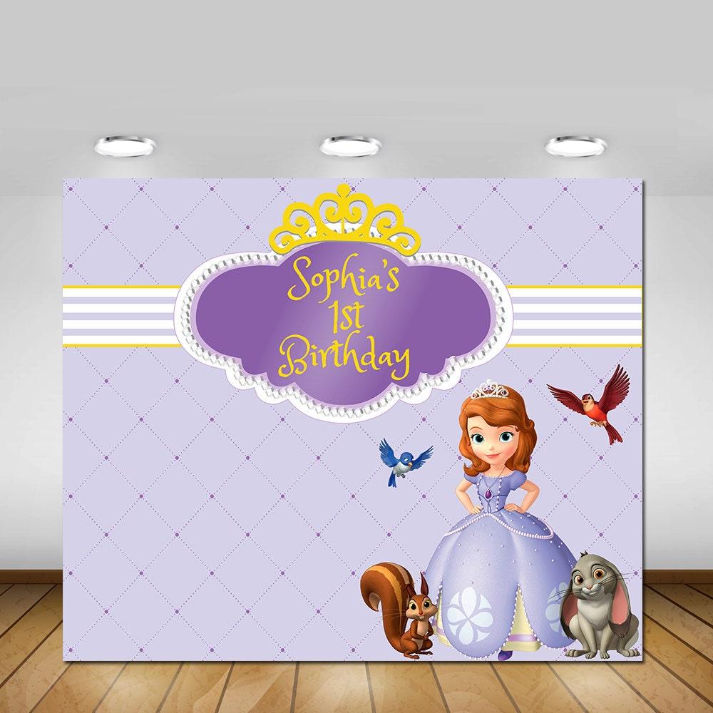 Princess sofia backdrop disney backdrop first birthday zoom amipublicfo Images