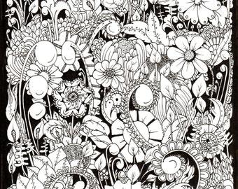 Flower Garden on black