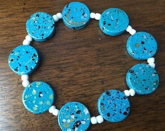 Turquoise Ceramic Round Beaded Bracelet White Spacers