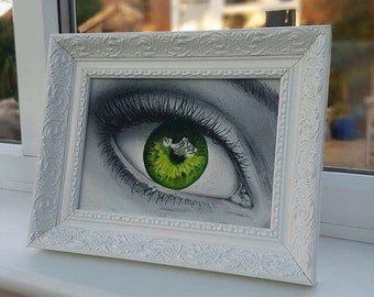 Green eye oil painting - Oil on canvas board original artwork