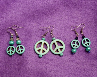 Turquoise color peace sign earrings in 3 varieties