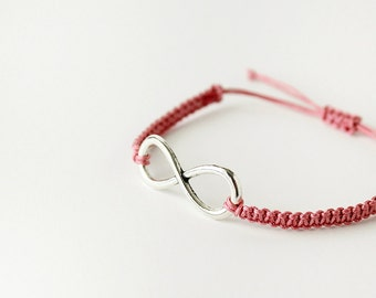 Silver Infinity Pink Braided Friendship Bracelet