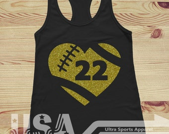 Football  Heart with Number - Customizable Tank Top
