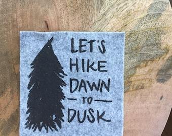 Let's Hike Dawn to Dusk Wool Felt Coaster