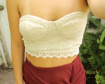 Strapless Crochet Crop Top Size Small