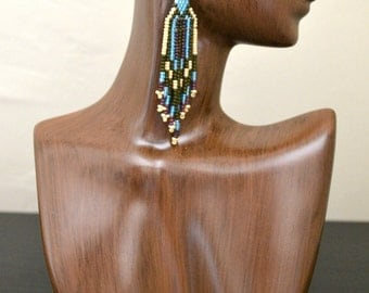 Long Blue, Green, and Pearl Beaded Earrings