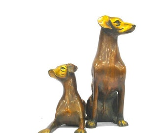 Brass Hunting Dogs Pair
