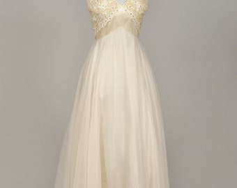 1960 Emma Domb Jeweled Vintage Wedding Gown