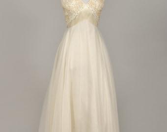 1960 Emma Domb Jeweled Vintage Wedding Gown