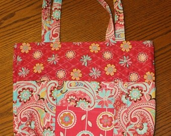 Pink and floral Tote Bag