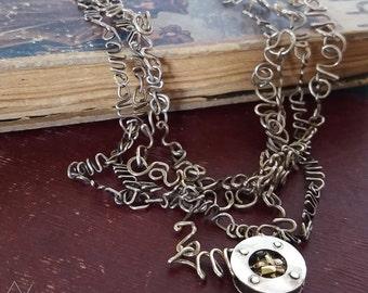 Metal art jewelry, Metal art necklace, Silver art necklace, Silver metal necklace, Silver art pendant