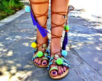 FREE SHIPPING Gladiator Pompom Sandals / Lace up Neon Sandals / Colorful Tassel Sandals / Pom Poms / Boho Leather Sandals / Greek Sandals