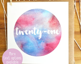 Blue Pink Watercolour greeting Card- More text options available