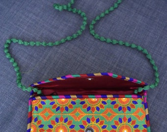 Traditional yet Trendy Clutch/Sling Bag - Thread Embroidered with Mirrors