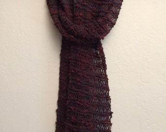 Summer scarf, knit scarf, red scarf, women's scarf