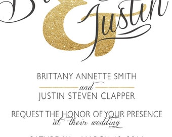 Printable Tailor-Made Wedding Invitation - Gold Glitter