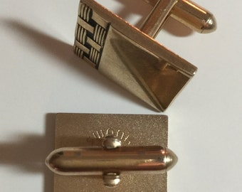 Vintage Swank cuff links, gold tone, 1950's