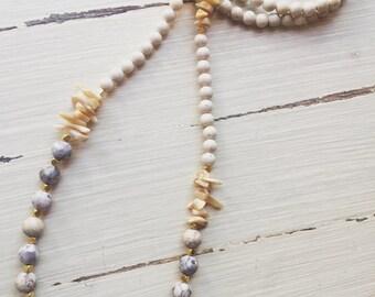 Purple and White Sea Urchin Necklace