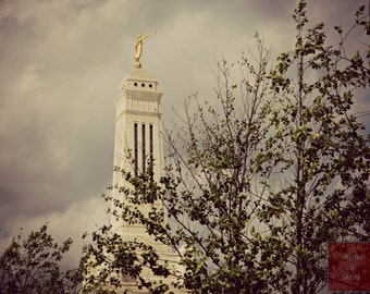 Indianapolis LDS Temple Photograph, Angel Moroni, LDS Church, Mormon Temple Photgraph, Scenic Temple Photograph, Mormon Church, Indiana LDS