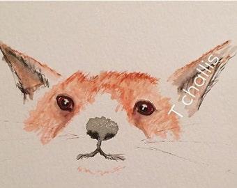 Fox water colour print