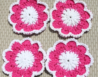 Crochet Coasters Pink Flower