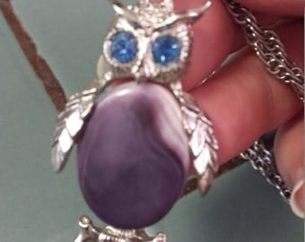 Cute little owl with bright blue eyes necklace.