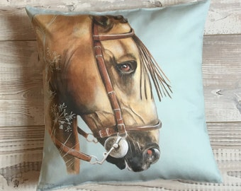 Square cushion horse Andalusian, green water