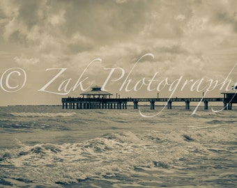 """Fort Myers Beach Pier - Bamboo Panel (3/4"""")"""